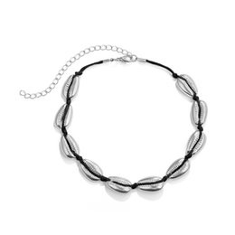 2019 colar de gargantilha de couro barato Europeus e Americanos moda jóias acessórios de estilo selvagem multi-camada de itens fio de liga de liga shell colar feminino