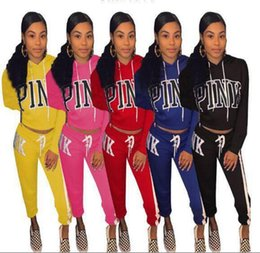 Wholesale Spandex Workout Clothes - Pink Letter Tracksuits Stripes Printed Hat Hoodie Pants Pullover Hoodies Pink Workout Sports Outfit Clothing 6 Colors OOA4785