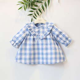 Wholesale Flax Color - 2018 INS hot styles New spring girl kids cute fresh Flax Plaid Dress kids lace collar long sleeve elegant high quality dress size 80-120cm