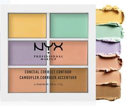 paleta completa Desconto NYX 6 cores Profissional Face Contorno Maquiagem Concealer Paleta Concealer fundador branqueador make up full cover woman cosmetic