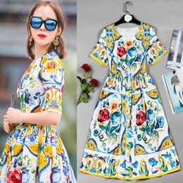 Vestidos de tamanhos europeus on-line-Europeu Da Moda de Verão Americano Plus Size Vestidos de Manga Curta Impressionante Bohemian Fino Impresso Mulheres Vestido de Alta Qualidade
