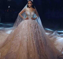 Canada Manches longues de luxe robe de mariée robe de mariée perlée 3D Floral Appliqued Arabie Saoudite dentelle robes de mariée 2019 Plus la taille robe de mariée Offre