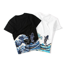 Uomini tatuaggi punk online-T-shirt da uomo a maniche corte punk etniche retrò stile cinese per uomo, estate, nero / bianco