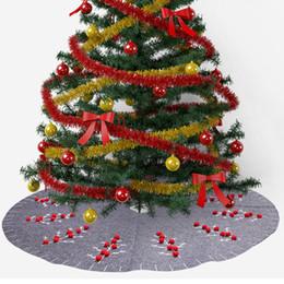 Jupe en ruban beige en Ligne-120cm gris feutre jupe arbre de Noël pour la décoration intérieure nouvelle année décoration de Noël avec la branche d'arbre de Noël rouge 3D Pom Ball rubans