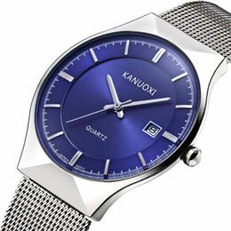 Wholesale Thinnest Waterproof Wrist Watch - KANUOXI Brand Luxury Men Watches Men Quartz Ultra Thin Clock Male Waterproof Sports Watches Casual Wrist Watch 2018 Dropshipping