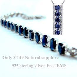 Colar de pulseira de safira azul on-line-Safira Azul Natural 925 Sterling Silver Jewelry Set Jóias De Pedras Preciosas Sapphire pulseira colar