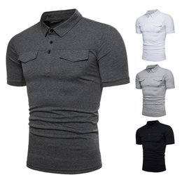 Polo shirts taschen online-Mens Solid Polo Shirt Slim Fit Kurzarm Polo Sommer Casual Basic T-Shirt 4 Farben Shirts mit Taschen