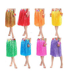Wholesale Luau Dresses - 60CM(23.6'')Adult's Flowered Luau Hula Skirts with Floral Waistband Dress Up Festive Decor Supplies 12 Colour Select