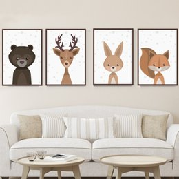 Wholesale Paper Poster Printing - Canvas Fabric Fox Animal Poster Frameless Nordic Art Prints Pictures Paintings Murals 30x40cm Baby Kids Room Wall Decoration