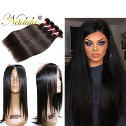 Wholesale Brazilian Cuticle Hair - Nadula 360 Pre-plucked Brazilian Lace Frontal with Bundles Brazilian Virgin Hair 360 Lace Frontal With Bundles Straight Cuticle Aligned Hair