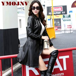 Wholesale ladies leather trench coat - YMOJNV 2017 New Leather Jacket Women Top Fashion Large Sizes Slim Ladies Faux PU Outerwear Long Women Leather Trench Coat Female