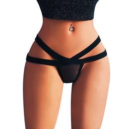 Micro correas calientes online-2018 Hot Sexy Underwear Women 's Briefs Mujeres Sexy Stripper Micro tanga G cadena Color puro para mujer Bragas Bragas