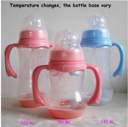 Wholesale newborn bottle feeding - 320ML Baby Feeding Bottle PP with Handle Standard Caliber Nursing Bottle Breast Nipple Newborn Feeding Nursing Bottle KKA4378