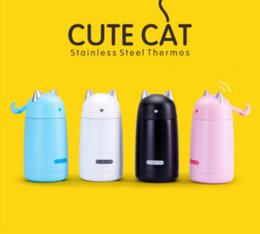 Wholesale Thermos Kids Water Bottle - 330ml Tasse Chat Caneca Gato Thermos Cup Cartoon Cat Thermo Mug Steel Kid Water Bottle Stainless Steel Tumbler Taza Gato