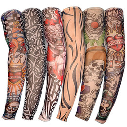 Wholesale tattoos arm designs for men - New Nylon Elastic Fake Temporary Tattoo Sleeve Designs Body Arm Stockings Tatoo for Cool Men Women