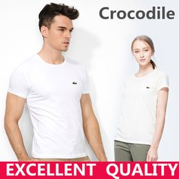 Wholesale Men Fitted Shirt - Hot sell Men's T Shirt Brand Crocodile Embroidery Short Sleeve 100% Cotton T Shirt Mens Clothing Trend Casual Slim Fit Hip-Hop Top Tees