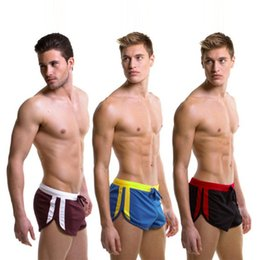 Wholesale Men S Mesh Shorts - New sexy quick dry Casual Men's Shorts with Inside pouch Summer mesh Men's Trunks breathable Homewear Fitness Workout Shorts gay