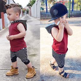 Wholesale kids boys harem pants - Baby Boys Girls Summer Hooded Vest + Black And White Striped Harem Pants 2 Sets Kids Clothing Infant Toddler Fashion suit Hot Selling 2018