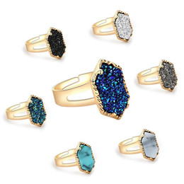 Wholesale Lady Ring Green Stone - 2018 New Fashion Druzy Drusy Rings Silver Gold Plated Popular Faux Stone Turquoise Rings For Women Lady Jewelry