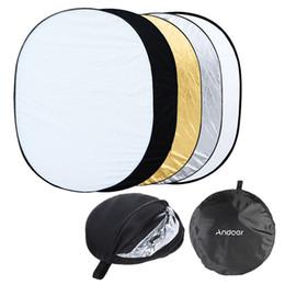 """Ouro translúcido on-line-Andoer 35 """"* 47"""" / 90 * 120cm Oval 5 em 1 (Dourado, Prateado, Branco, Preto, Translúcido) Multifuncional Estúdio Fotográfico Refletor Leve"""