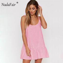 a809eb1094a4 Nadafair Camisole Loose Dress Spaghetti Strap Ruffle Dress Women Sleeveless  Casual Beach Mini Backless Trumpet Dresses Summer