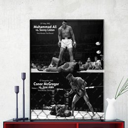 Wholesale abstract sports wall art painting - ZZ1150 CONOR McGREGOR Muhammad Ali Motivational canvas posters and prints art sports pictures oil art painting for home wall