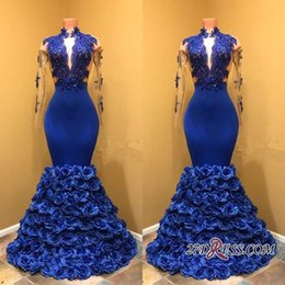 royal blue silk petals Promo Codes - Royal Blue Petal Power Flowers Prom Dresses 2018 High Neck Sexy Sheer Long Sleeves Lace Appliqued African Black Girls Wear BA8227