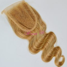 "Wholesale Top Hair Hairpieces - Wholesale Malaysian 100% Human Hairpieces 4x4"" Top 8A Lace Topper with baby hair 27# Blonde Lace Closure"