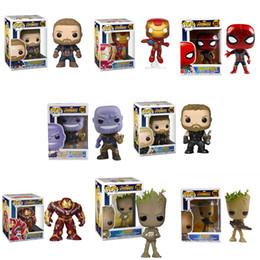 Wholesale Iron Man Funko - funko pop action figures toys Marvel Avengers 3 Infinity War Thanos Groot Iron Man Thor PVC Collecting Toys Kids toys LA756