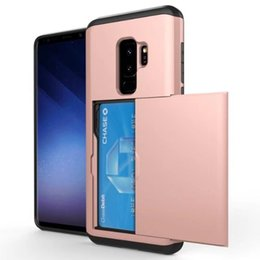Wholesale Slide Back Case - Slide Wallet Credit Card Slot Phone Case For Galaxy S8 S9 S9Plus Note 8 Hybrid Armor Shockproof Silicone TPU Back Cover