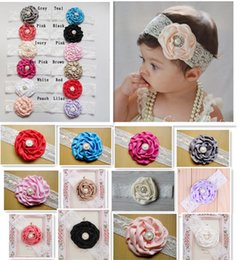 Wholesale Pearls Headband - 2018 Infant Flower Pearl Headbands Girl Lace Headwear Kids Baby Photography Props NewBorn Bow Hair Accessories Baby Hair bands