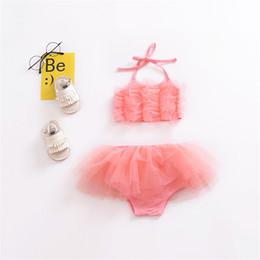 2019 baby rüsche blüht rosa Neugeborenes Baby Mädchen Prinzessin Kleidung 2018 Sommer Anzug Strap Pink Mesh T-Shirt Tops + Rüschen Bloomers Shorts Sunsuit Kleidung Set rabatt baby rüsche blüht rosa