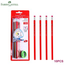 Wholesale sharpener for school - Faber Castell 1322 Clamping Triangular Write Pencils HB 2B and Sharpener Vintage Wooden Quality Pencil for School Office Lot