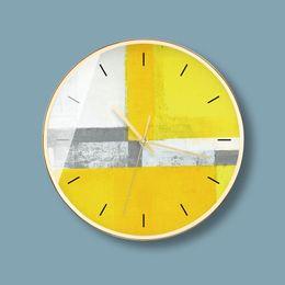 12inch nordique créatif jaune citron non Ticking horloge murale silencieuse mode concepteur abstrait postmoderne rond muet horloge murale batterie operat ? partir de fabricateur