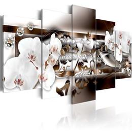 Orchideen blumen gemälde online-5 Stücke Leinwand Weiß Orchidee Blume Kunstwerk Gemälde Lebendige Blumen Diamant Malerei Moderne Bild Wanddekoration Dekoration