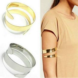 gold oberarm armbänder Rabatt 2018 Sommer neue verstellbare Manschette Armbänder Armreifen Frauen Gold Farbe oberen Arm Manschette Armbinde Armband Armband Punk Schmuck