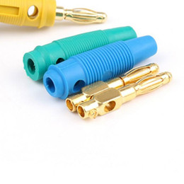 Wholesale gold plated binding posts - 20 Pcs Gold Plated 4mm Banana Plug Screw To Speaker Amplifier Binding Post Test Probes Adapters XXM