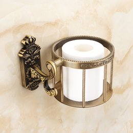 Titular de papel de baño antiguo online-Los titulares de papel higiénico antiguo latón macizo cesta Champú de almacenamiento de montaje en pared Holder accesorios de baño de papel del tejido del estante cesta redonda