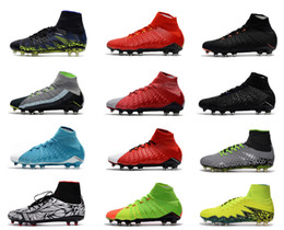 Wholesale Shoes For Mens Football Indoor - Hypervenom III Outdoor Soccer Shoes For Men High Quality FG Phantom II Sport Football Boots 3D Knit ACC Mens Soccer Cleats 6.5-11