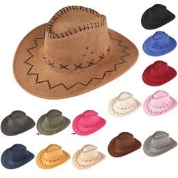 65bcb68252f 20 Color Westworld Cowboy Hats Men Women Big Kids Brim Caps Retro Sun Visor  Knight Hat Cowgirl Brim Hats B