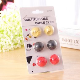 Wholesale cable wire cords organizer - Attractive Cable Clip Desk Tidy Wire Drop Lead USB Charger Cord Holder Organizer Holder Line Accessories cable winder 6pcs set