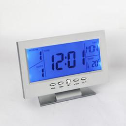 Wholesale Lazy Alarm Clock - Meijswxj 2017 Student lazy little Alarm clock Creative Mute Electronic clock Voice control Backlight Bedside clocks Home Decor