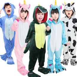 Wholesale Girls Sleepwear Hot - Children Conjoined Pajamas Flannel Cartoon Animals Sleepwear Boys Girls Onesies Nightwear Many Styles Hot Sale 29dy C R