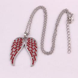 Kreative Mode Anhänger Edelstahl Gliederkette Kristall Silber Engelsflügel Halskette Für Frauen Sommer Schmuck Geschenk von Fabrikanten