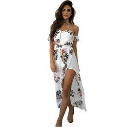 vestido de playa floral asimetrico Rebajas una vez 3.28 Cheap Off hombro asimétrico estampado floral Boho largo verano nuevas mujeres Casual Beach Bohemian vestido