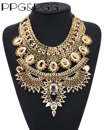 Wholesale Vintage Jewelry India - whole salePPG&PGG Fashion Jewelry Chunky Chain Big Statement Crystal Bib Collar Necklaces vintage India Style Charm Jewellery Bijoux