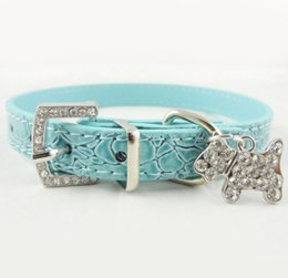 Wholesale Large Blue Crystal Pendant - Crystal Pendant Pet Dog Collar Puppy Cat Pet Buckle Dogs Leads Neck Strap PU Leather Animal Pet Accessories For Small Dogs