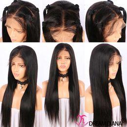 Schwarze chinesische perücken online-Lace Front Perücken Echthaar Perücken für schwarze Frauen seidig gerade peruanische indische brasilianische malaysische chinesische Haare Pre gezupft natürlichen Haaransatz