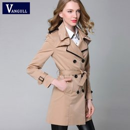 2019 модные европейские пальто VANGULL 2018 New Fashion Designer  Classic European Trench Coat khaki Black Double Breasted Women Slim Patchwork Coat дешево модные европейские пальто