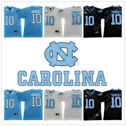 Talons bon marché pour les hommes en Ligne-2019 NCAA Men Tar Heels # 10 Mitch Trubisky Maillots de football noir et blanc bleu cousu au North Carolina College